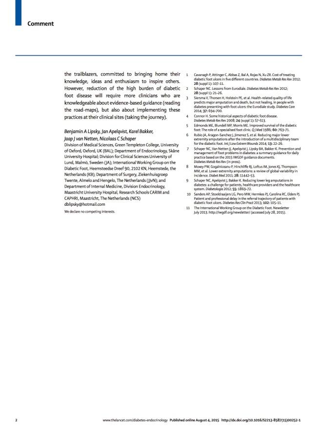 Commentary diab foot_Lipsky 2015 - Lancet DE