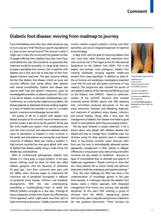 Commentary diab foot_Lipsky 2015 - Lancet DE1